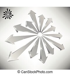 concettuale, frecce, indicare, 3d