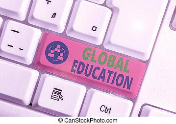 concettuale, insegnato, esposizione, education., testo, segno, uno, aumentare, foto, idee, globale, world., percezione, s