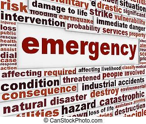 concettuale, messaggio, emergenza, fondo
