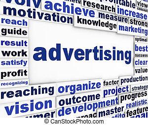 concettuale, messaggio, pubblicità, fondo