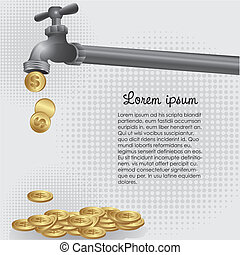 concettuale, monete, rubinetto, sgocciolatura, illustrazione