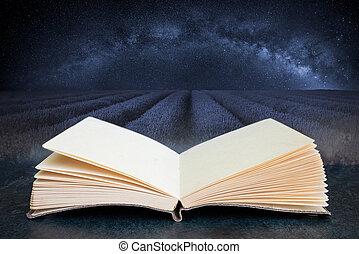 concettuale, paesaggio, immagine, lavanda, modo, libro, chiaro, aperto, zona cielo, latteo, tramortire, galassia, composito