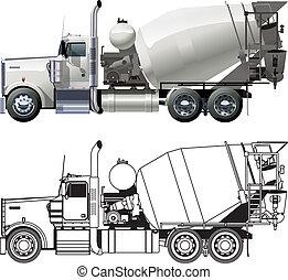 concreto, camion, miscelatore