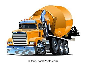 concreto, cartone animato, camion, miscelatore