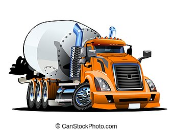 concreto, cartone animato, miscelatore, camion