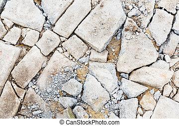 concreto, fesso, pavimento