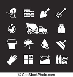 concreto, set, cemento, icone