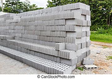 concreto, solido, mattone, sale.