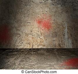 concreto, spruzzi incollaggi, stanza, vuoto, sangue