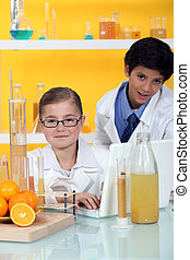 condotta, bambini, esperimento, arance
