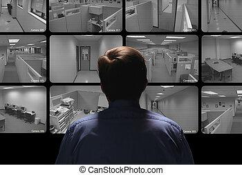 condotta, osservare, sorveglianza, guardia, sicurezza, parecchi, monitor