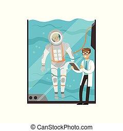 condotte, subacqueo, addestramento, moderno, technology., dottore, medico, tank., carattere, giovane, appartamento, vetro acqua, astronaut., esame, spacesuit., pilota, vettore, cartone animato, uomo