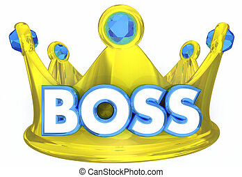 condottiero, superiore, direttore, supervisore, illustrazione, capo, corona, 3d