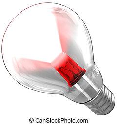 condotto, luce, dentro, trave, bulbo, emettere