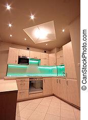 condotto, moderno, verde, lusso, illuminazione, cucina