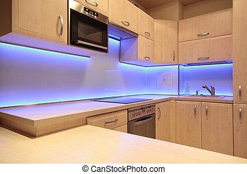 condotto, viola, moderno, illuminazione, lusso, cucina