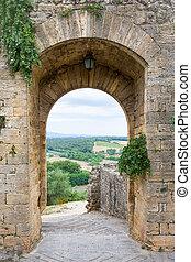 condurre, campagna, toscano, italia, medievale, porta