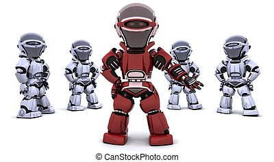 condurre, robot, rosso, squadra
