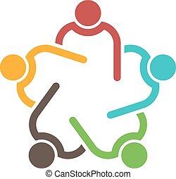 conferenza, 5, persone., gruppo, lavoro squadra