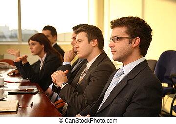 conferenza, affari, -, persone, cinque, azione