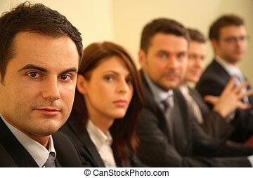 conferenza, affari, -, persone, cinque, ritratto