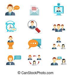 conferenza, comunicazione, affari tela, icone