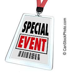 conferenza, esposizione, lanyard, convenzione, distintivo, evento, speciale