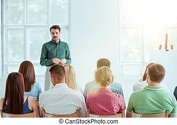 conferenza, hall., altoparlante, riunione affari