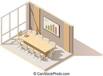 conferenza, isometrico, stanza, ufficio, poly, vettore, basso