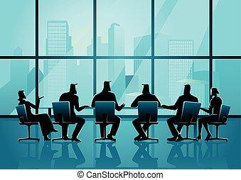 conferenza, persone affari, stanza, esecutivo, detenere, riunione