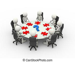 conferenza, persone affari, tavola, riunione, 3d