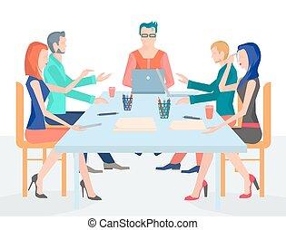 conferenza, set, ufficio, persone affari, accessori, illustrazione