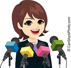 conferenza stampa, donna, politico