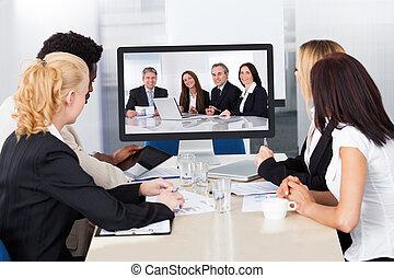 conferenza, video, ufficio