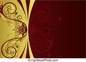 confine floreale, disegno, rosso, oro