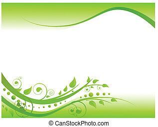 confine floreale, verde, illustrazione