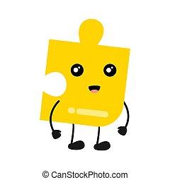 confondere pezzi, carino, illustrazione, jigsaw