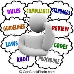 conformità, regole, linee direttrici, confuso, regolazioni, pensatore