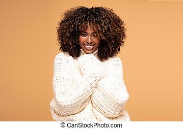 confortevole, afro, moda, ragazza, sweater.