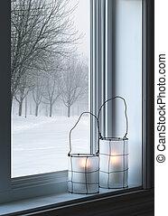 confortevole, finestra, lanterne, attraverso, visto, paesaggio, inverno