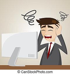 confusione, computer, cartone animato, uomo affari