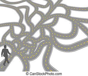 confusione, decisione, scelta, affari, percorso