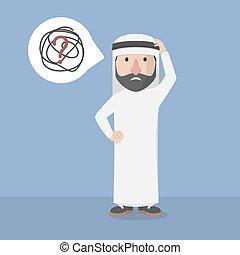 confuso, uomo, arabo, affari