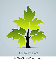 congedi verdi, vettore, albero, icona