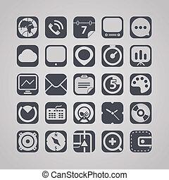 congegno, interfaccia, tavoletta, collezione, icone