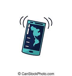 congegno, mappa, americano, smartphone, continente