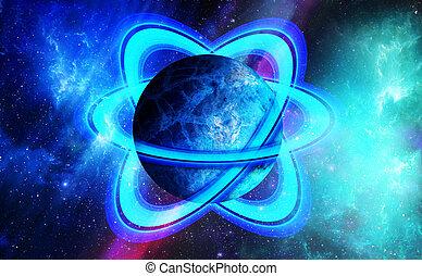 congelato, pianeta, isolato, ghiaccio, anelli