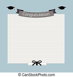 congratulazione, bandiera, graduazione