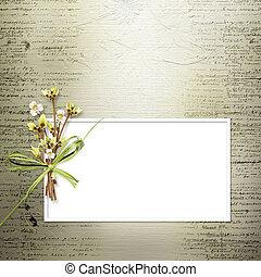 congratulazione, ramoscelli, invito, fiori, o, scheda, mazzo