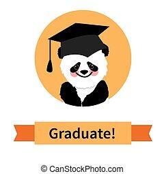 congratulazioni, carattere, augurio, laureato, panda, scheda